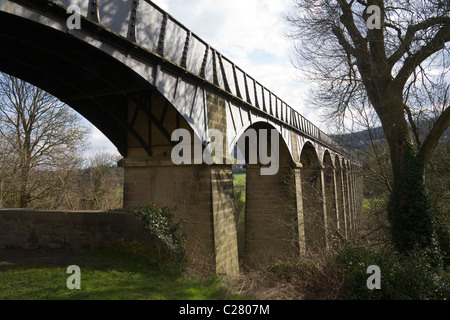 North Wales UK cast iron trough iron arched ribs Pontcysyllte Aqueduct built by Thomas Telford carries Shropshire - Stock Photo