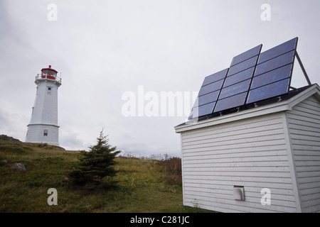 A lighthouse powered by solar cells, near Fortress of Louisbourg National Historic Site, Cape Breton, Nova Scotia, - Stock Photo