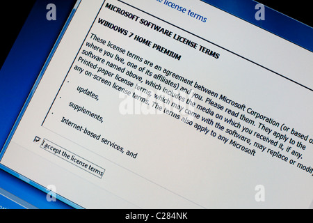 The software license on Windows 7 Home Edition England UK - Stock Photo