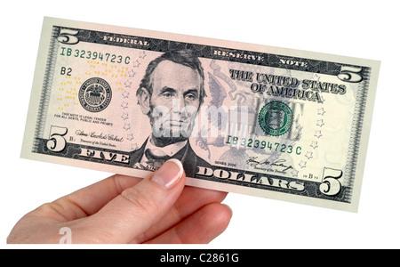 5 Dollar note, dollars, money, American banknotes, five dollar bill - Stock Photo