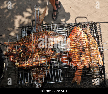 Red Snapper fish cooking on a barbecue. - Stock Photo