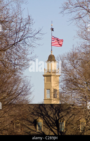 Cupola with a weather vane, lightning rod, and Great Union flag on top of The Colonial Capital building in Williamsburg - Stock Photo