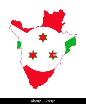 Illustration of Burundi flag on map of country; isolated on white background. - Stock Photo
