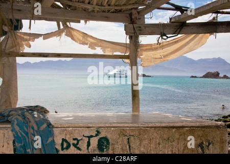 Safari Quest cruise ship at anchor off Isla Coyote (Pardito), Gulf of California, Sea of Cortez, Baja California, - Stock Photo