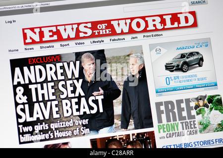 News of the World tabloid website - Stock Photo
