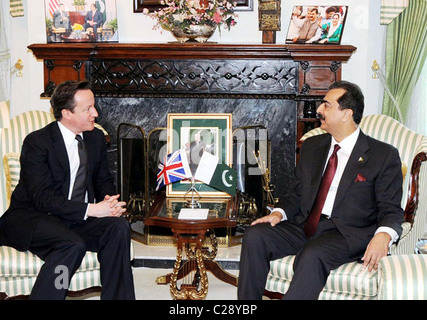 Prime Minister, Syed Yousuf Raza Gilani exchanges views with his British counterpart, David Cameron during meeting at PM House