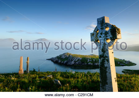 Graveyard in the village of Timsgarry. - Stock Photo