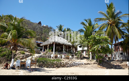 Beach Cafe Mazunte Oaxaca State Mexico - Stock Photo