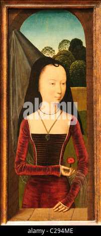 Young Woman with a Pink, ca. 1485–90, Attributed to Hans Memling, - Stock Photo