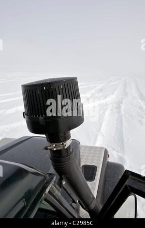 Land Rover Defender 90 - Iceland Interior highlands winter - Stock Photo