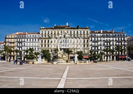 Grand Hotel de la Gare (centre) in Place de la Liberte in the centre of Toulon France - Stock Photo