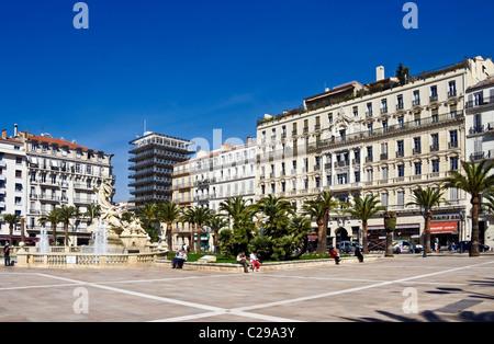Grand Hotel de la Gare (right) in Place de la Liberte in the centre of Toulon France - Stock Photo