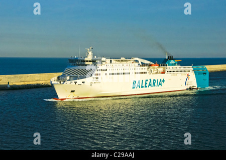 Balearia car and passenger ferry Abel Matutes arriving in Barcelona Harbour Spain - Stock Photo