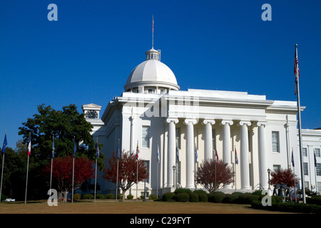 The Alabama State Capitol Building located on Goat Hill in Montgomery, Alabama, USA.