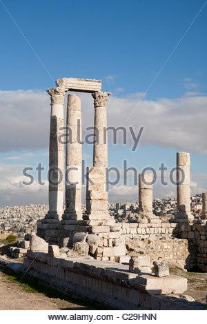 The ruins of the ancient Citadel, or Jebel al-Qal'a. - Stock Photo