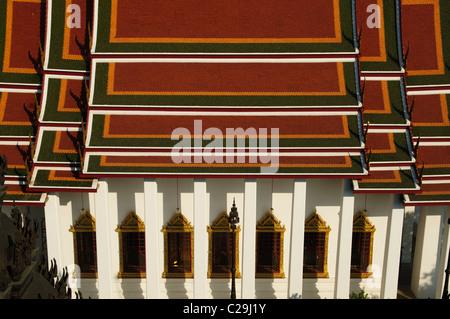 temple view at Wat Ratchanatdaram in Bangkok, Thailand - Stock Photo