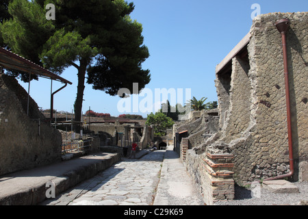 A street in the ruins of Herculaneum, Naples, Italy - Stock Photo