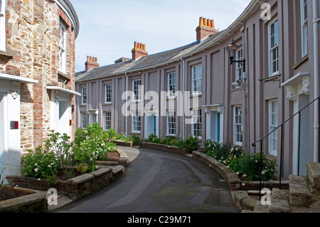A Georgian period  terrace, Walsingham place in Truro, Cornwall, UK - Stock Photo