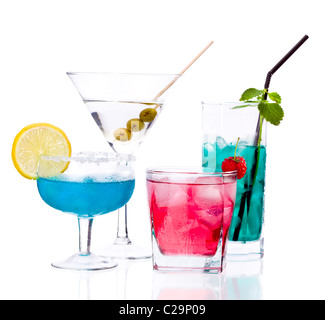 Tropical Drinks isolated on white background - Stock Photo