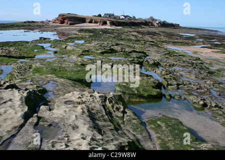 View Towards Hilbre Island At Low Tide, Wirral, UK - Stock Photo