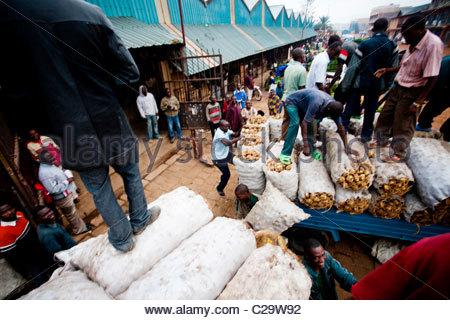 A scene in a crowded local market in Kigali, Rwanda. - Stock Photo