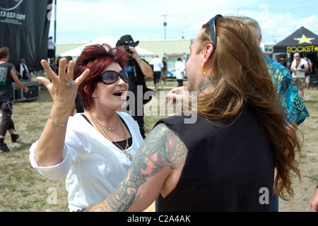 Sharon Osbourne and Dez Fafara backstage during Ozzfest 2008 at Pizza Hut Park Dallas, Texas. - 09.08.08 - Stock Photo