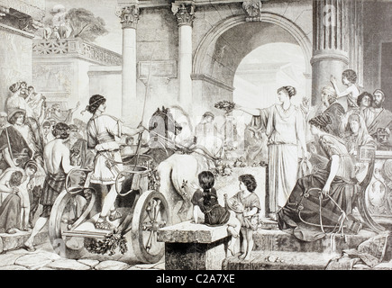 Ancient Greek Olympic Games. The winner of the chariot race is saluted and offered the champion's crown. - Stock Photo