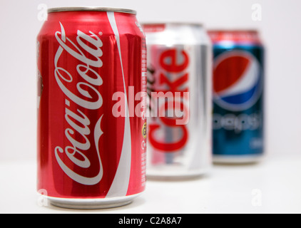 Pepsi falls to 3rd place behind Coca-Cola and Diet Coke in US sales for 1st time - Stock Photo