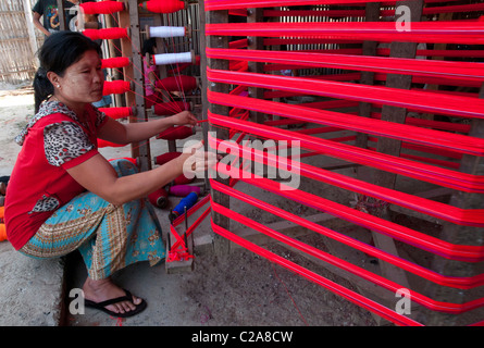 weaving workshop for traditional ethnic Pa Oh handycraft. Augban. Myanmar - Stock Photo