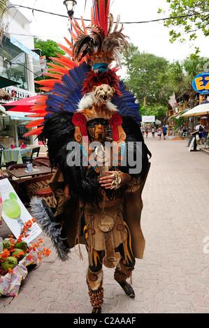 Man wearing traditional Mayan costume in Playa del Carmen, Quintana Roo, Mexico