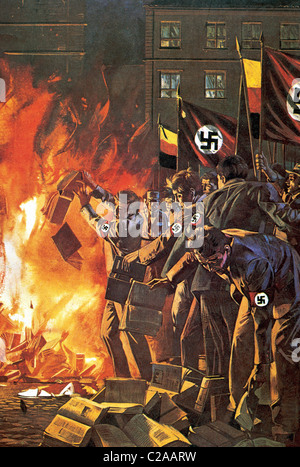Nazism. Burning of books unrelated with the regime. Drawing. - Stock Photo