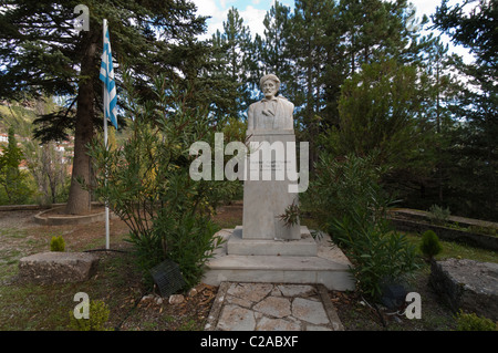 Commemorative bust of General Makrianny, a Greek hero. - Stock Photo