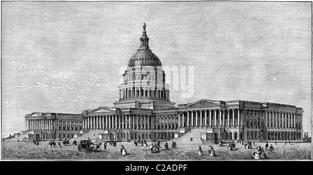 19th Century book illustration, taken from 9th edition (1875) of Encyclopaedia Britannica, of The Capitol, Washington, - Stock Photo
