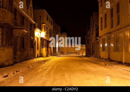 Holywell Street, Oxford, Early Morning covered in Ice and Snow. - Stock Photo