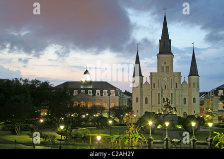 Evening lighting St. Louis Cathedral Jackson Square New Orleans Louisiana - Stock Photo