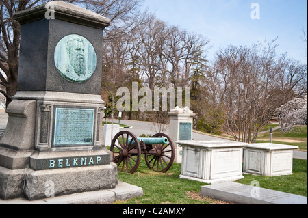 Decorative headstone of Army General and 30th Secretary of War (1869-1876) William G. Belknap in Arlington National - Stock Photo