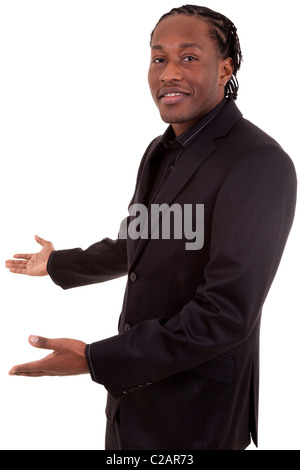 African American Businessman with arm out in a welcoming gesture , isolated on white background - Stock Photo