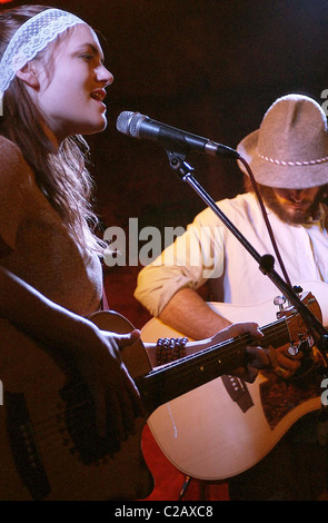 Angus and Julia Stone performing live at the Cabaret Voltaire as part of the T on the Fringe Festival 2007 Edinburgh, - Stock Photo