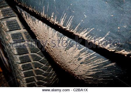 Dirt marks on a car - Stock Photo