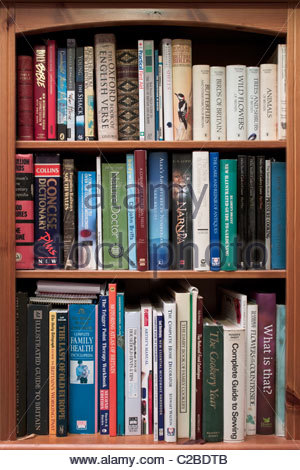 Bookcase with reference books - Stock Photo