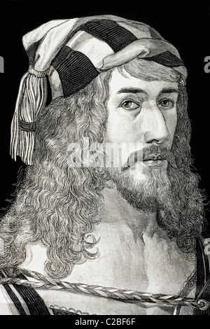 Albrecht Dürer, 1471 to 1528. German painter, printmaker and theorist. After his self portrait. - Stock Photo