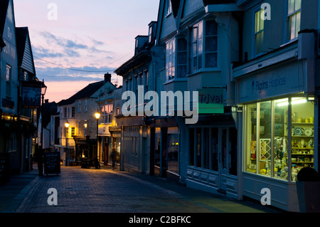 West Street shops night time Faversham town Kent England UK  - Stock Photo