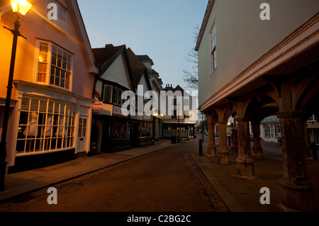 Guildhall hall built in 1574 and market square Faversham town Kent England UK  - Stock Photo