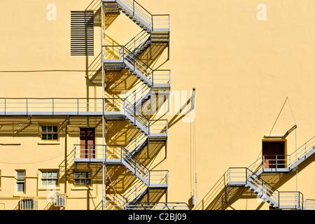 fire escape staircase - Stock Photo