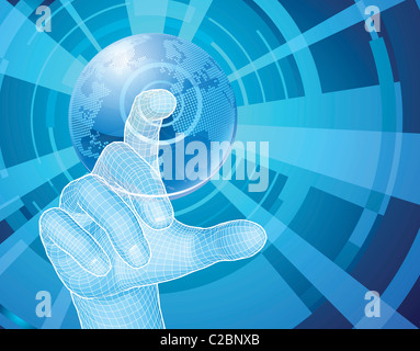 Users hand selecting concept background with world globe - Stock Photo