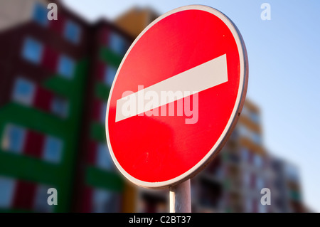 No Entry Traffic Road Sign - Stock Photo
