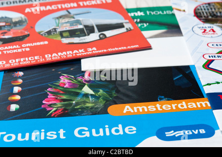 Selection of tourist brochures from Amsterdam, Holland, Netherlands - Stock Photo
