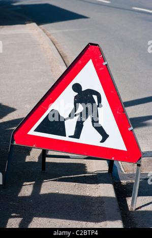 UK Road Traffic Sign Roadworks Ahead - Stock Photo