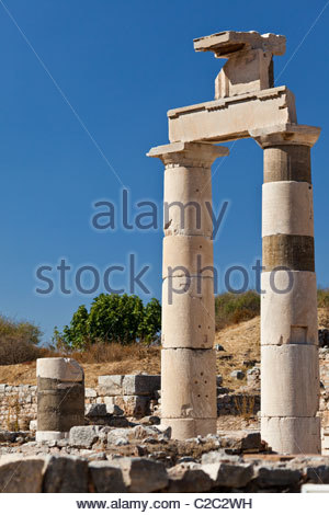 Magnificently well-preserved Roman city ruins of Ephesus Prytaneion. - Stock Photo
