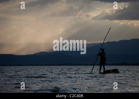 Fishermen in Lake Chamo, Arba Minch, Ethiopia - Stock Photo